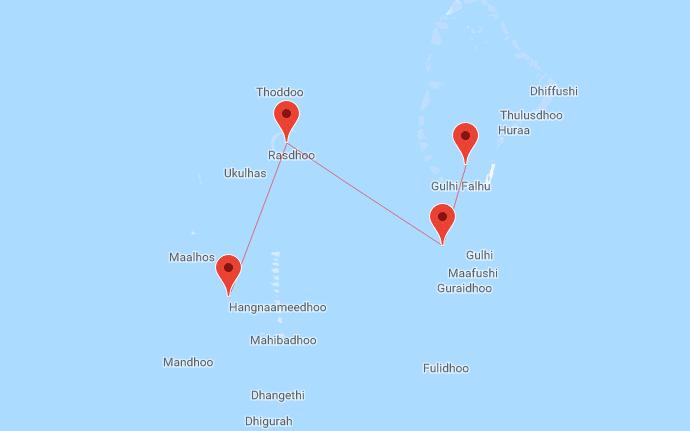 Mappa crociera alle Maldive MY Conte Max
