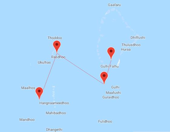 Mappa crociera alle Maldive