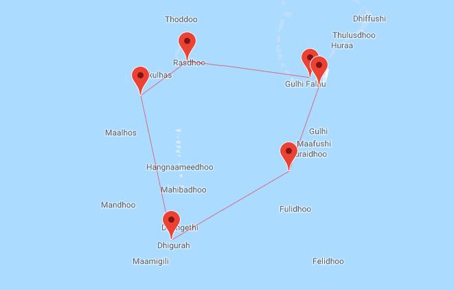 Mappa crociera alle Maldive, atolli centrali