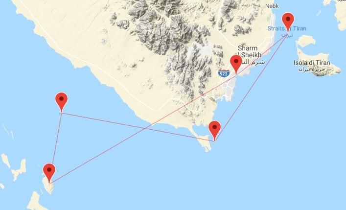Mappa crociera Mar Rosso nord