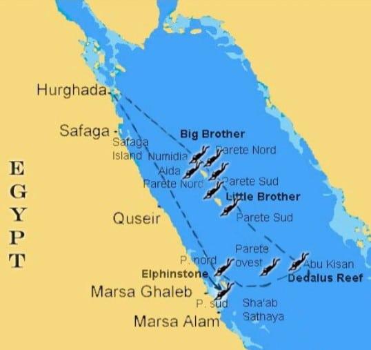 Mappa crociera diving Mar Rosso, ottobre