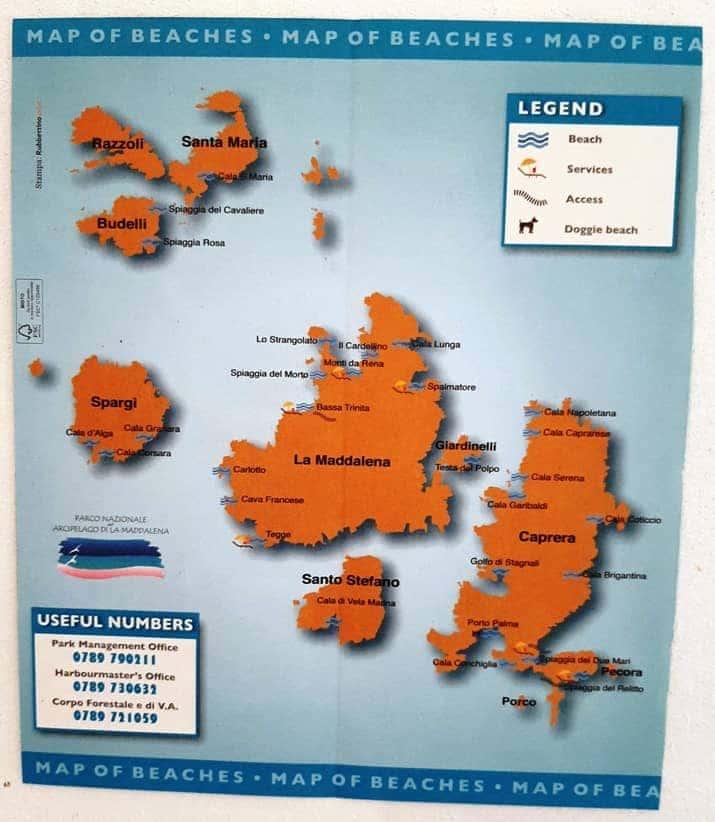 Mappa dell'arcipelago della Maddalena